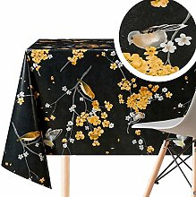 Floral Black Graphite Wipe Clean Tablecloth with
