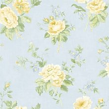 Floral Blue Wallpaper English Yellow Rose Floral
