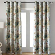 Floral Design Digital Print Window Drapes with