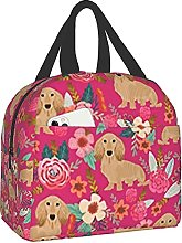 Floral Doxie Dachshunds Portable Lunch Bag
