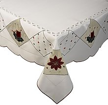 Floral Embroidery Table Topper with Scalloped Edge