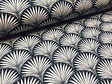 Floral Fan Geometric Damask Fabric Art Deco -