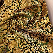 Floral Gold Leaf Damask Metallic Indian Banarasi