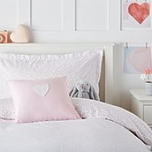 Floral Heart Cushion Cover, Pink, Small Square