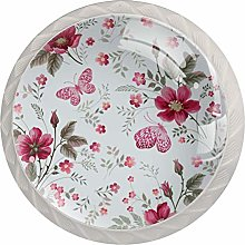 Floral Pattern with Rose Solid Kitchen Cabinet