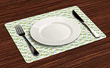 Floral Place Mats Set of 4, Rhythmic Colorful