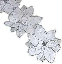 Floral Poinsettia Runner Embroidered Flower