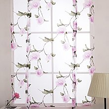 Floral Printed Window Curtains Voile Curtain for