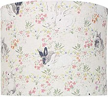 Floral Rabbit Linen Print Lampshade (30 cm