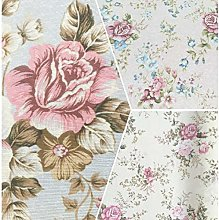 Floral Roses with Leaves Design Cotton Rich Linen