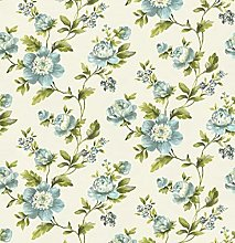 Floral Shabby Chic Wallpaper Blue White Green