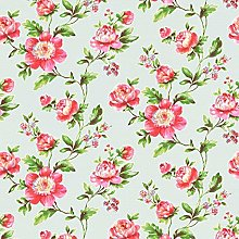 Floral Shabby Chic Wallpaper Duck Egg Blue Pink