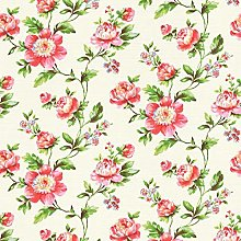 Floral Shabby Chic Wallpaper Pink White Green