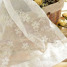 Floral Sheer Curtains,Pastoral Flower Embroidered