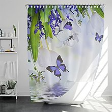 Floral Shower Curtain Sets with Rugs and 12 Hooks,