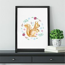Floral Squirrel Wall Art Print | Gift for Friends