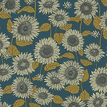 Floral Sunflower Wallpaper Blue Navy Yellow Cream
