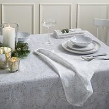 Floral Tablecloth, White, One Size