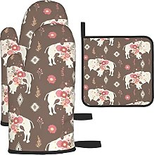 Floral Tribal Buffalo Brown Oven Mitts and Pot