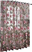 Floral Tulle Voile Flower Print Chic Style Drape