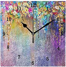 Floral Watercolor Wall Clock, Silent Non Ticking