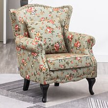 Floral Wingback Armchair With Cushion