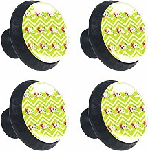 Floral with Green Zig Zag Stripes 4PCS Round