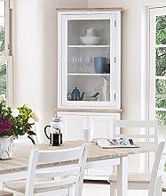 Florence Corner Display Cabinet. White glass