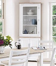 Florence Corner Display Cabinet. White glass