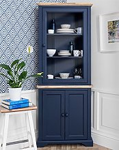 Florence Navy Blue Corner Display Cabinet. Corner