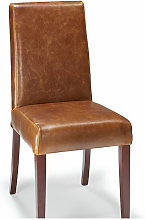 Florence Tan Aniline Real Leather Chair Walnut Legs