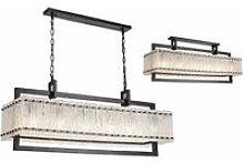 Flow rectangular pendant light 12 bulbs matt black