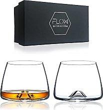 Flow Vortex Whiskey Glasses Set of 2 - Crystal