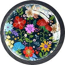 Flower, 4 Pack Cabinet Drawe Dresser Knobs Modern