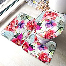 Flower Bathmat,Beautiful Peony Flowers Watercolor