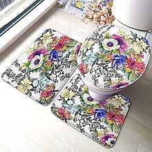 Flower Bathmat,Colorful Garden Floral Flowers
