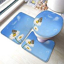 Flower Bathmat,Daisy Flower With Butterfly In The