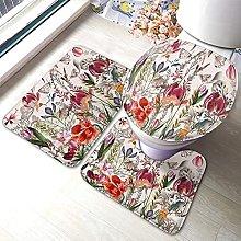 Flower Bathmat,Vintage Flower With Assorted Plants