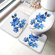 Flower Bathmat,Watercolor Blue Flowers Art Design
