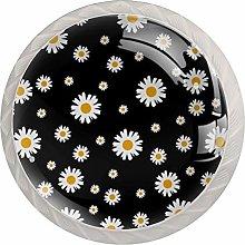 Flower Black Drawer Round Knobs Cabinet Pull