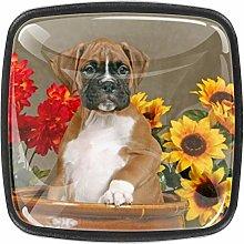 Flower Boxer Puppy 4 Packs Kitchen Cabinet
