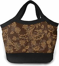 Flower Brown Background Pattern Insulated Lunch