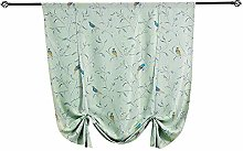 Flower Embroidered Tie-Up Roman Shades Tap Top