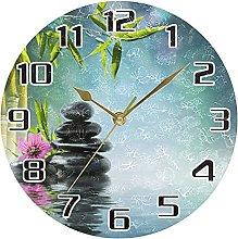 Flower Japanese Zen Stone Wall Clock Silent Non