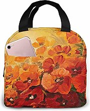 Flower On A Red-Yellow Background Lunch Bag Tote