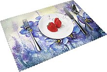 Flower Painting Watercolor Table mat 4 piece