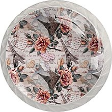 Flower Pattern 4PCS Round Shape Cabinet Knobs for