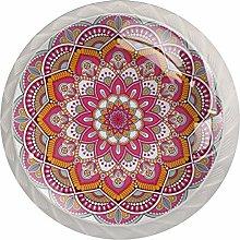Flower Pattern Pink White Crystal Drawer Handles