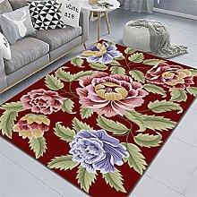 flower rug Red carpet, floral pattern modern