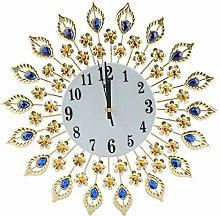 Flower-Shaped Wall-mounted Clock, Diamond Studded